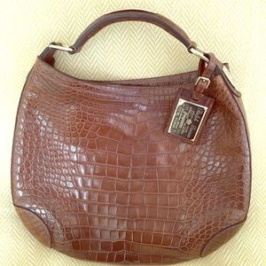 Authentic  Ralph Lauren Brown Alligator Hobo bag.